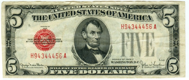 US $5 1928 Note (Front)