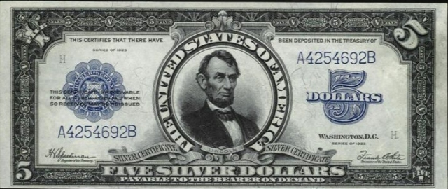 US $5 1923 Silver Certificate (Front)