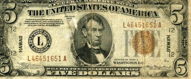 US $5 1934 Hawaii Emergency Note (Front)